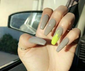 acrylics, grey, and nails image