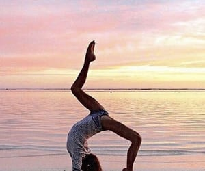 beach, yoga, and fitness image