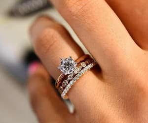 bride, wedding dress, and engagment rings image