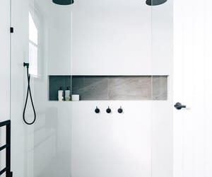 architecture, b&w, and bathroom image