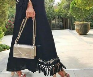 beautiful, hijab hijabi, and black dress image