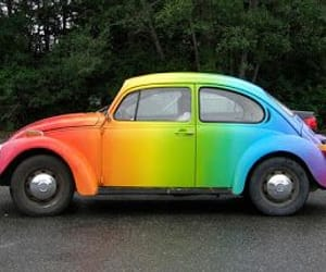 beetle, rainbow, and hippie image
