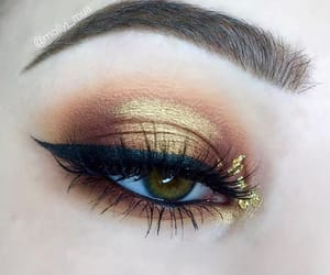beauty, eyes, and gold image