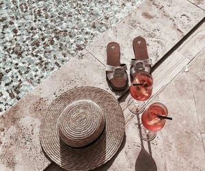beach, hat, and pool image