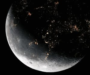 moon, space, and dark image