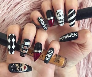 black and white, kylie cosmetics, and nail art image