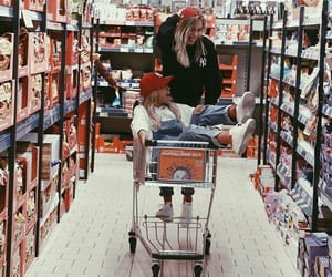 girl, sisters, and supermarket image