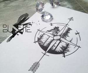 art, compass, and trees image