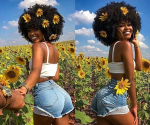 Afro, beautiful, and black girl image