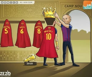 Barcelona, captain, and caricature image