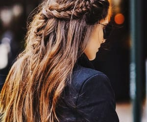 brunette, hairstyle, and fashion image