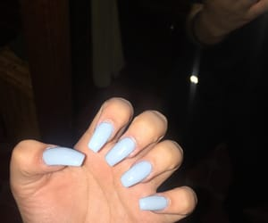coffin, light blue, and nails image