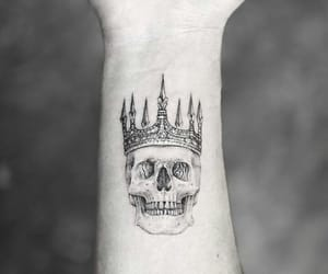 tattoo, crown, and skull image