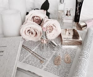 beauty, book, and flowers image