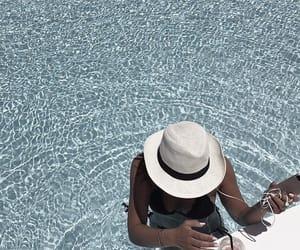 beach, hat, and ocean image