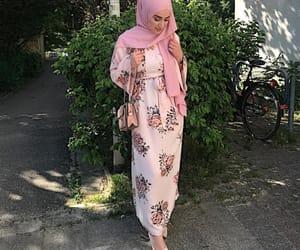 fashion, floral dress, and hijab image