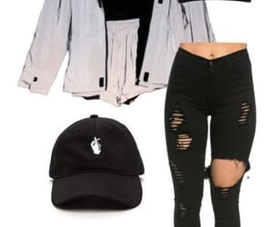 black, hat, and outfits image