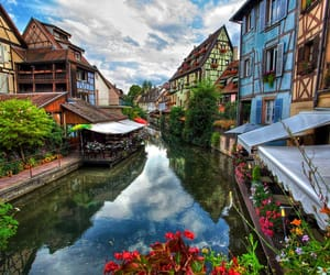 canal, colorful houses, and europe image