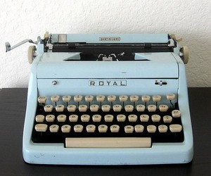 typewriter, blue, and retro image