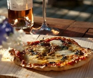 pizza, food, and wine image