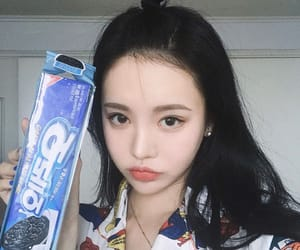 asian girl, black hair, and face image