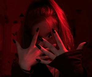 red, girl, and nails image