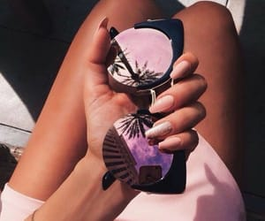 nails, pink dress, and sunglasses image