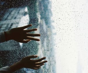 rain, hands, and window image