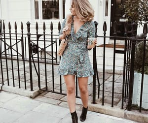 black boots, fashion, and floral dress image