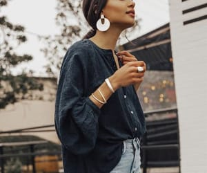 fashion, earrings, and outfit image