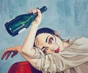 girl, art, and alcohol image