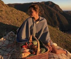 girl, picnic, and sunset image