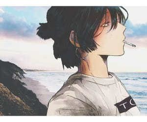 anime, beach, and sky image