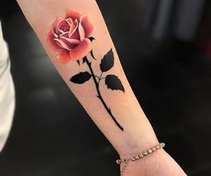 beauty, rose, and tattoo image