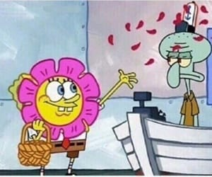 spongebob, flowers, and funny image