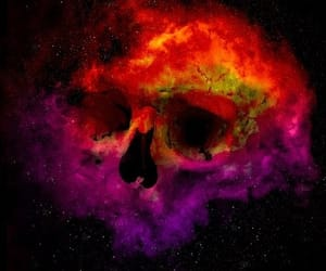 art, colours, and skull image