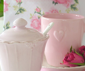 pink, tea, and sweet image