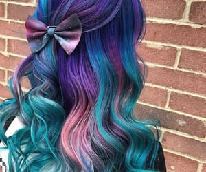 blue hair, colorful, and girl image