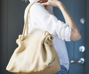etsy, leather tote bag, and beige leather bag image