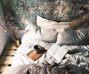 bed, bedroom, and book image