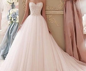 dress, wedding dress, and simple image