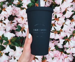 starbucks, flowers, and black image