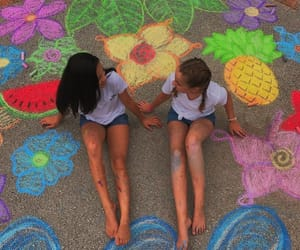 chalk, fruit, and girls image