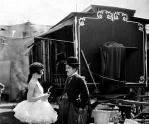 charlie chaplin, black and white, and circus image