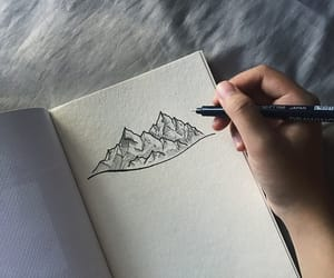 doodle, mountain, and sketch image