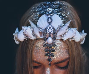mermaid, glitter, and mermaid crown image