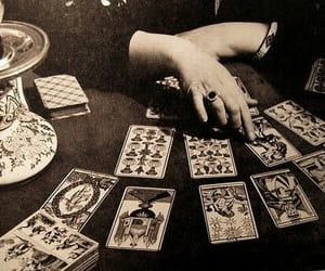 tarot, cards, and black and white image
