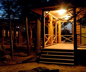 cabin, camp, and night image
