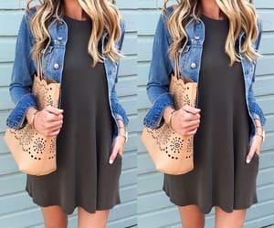 blonde, denim skirt, and dress image