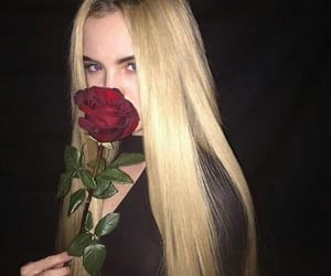 girl, rose, and eyes image